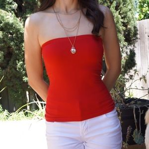 Tops - Seamless red strapless/ tube top